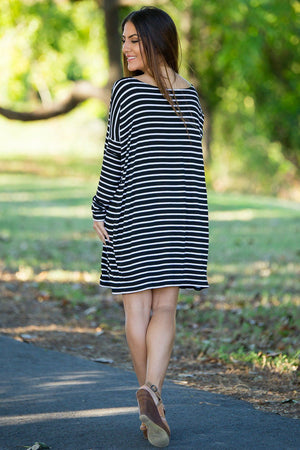 Long Sleeve Tiny Stripe Piko Tunic - Black/White - Piko Clothing