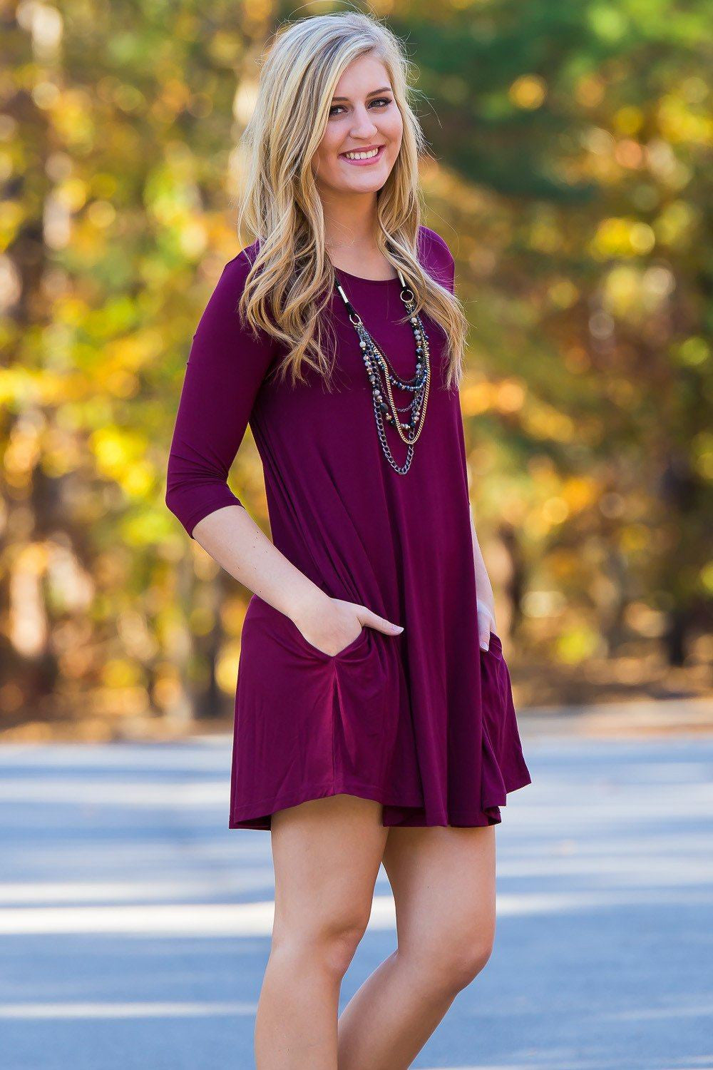 Piko 3/4 Sleeve Swing Dress - Dark Maroon