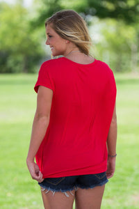 Short Sleeve Rolled Sleeve Piko Top - Red - Piko Clothing - 2