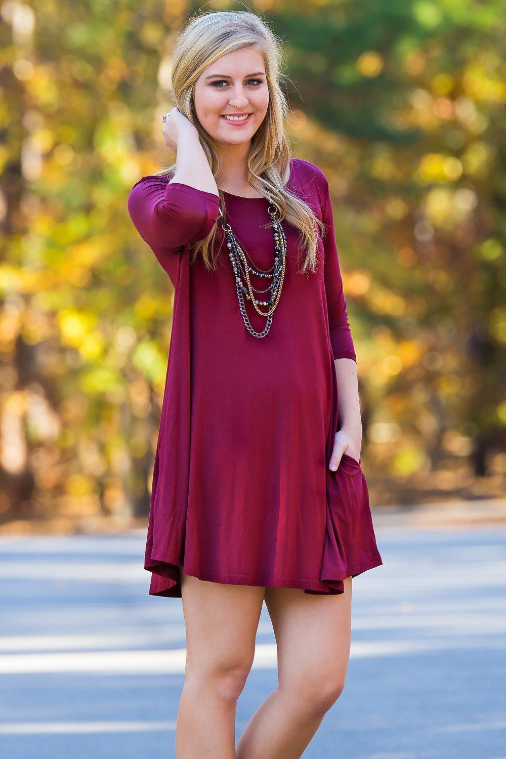 Piko 3/4 Sleeve Swing Dress - Wine