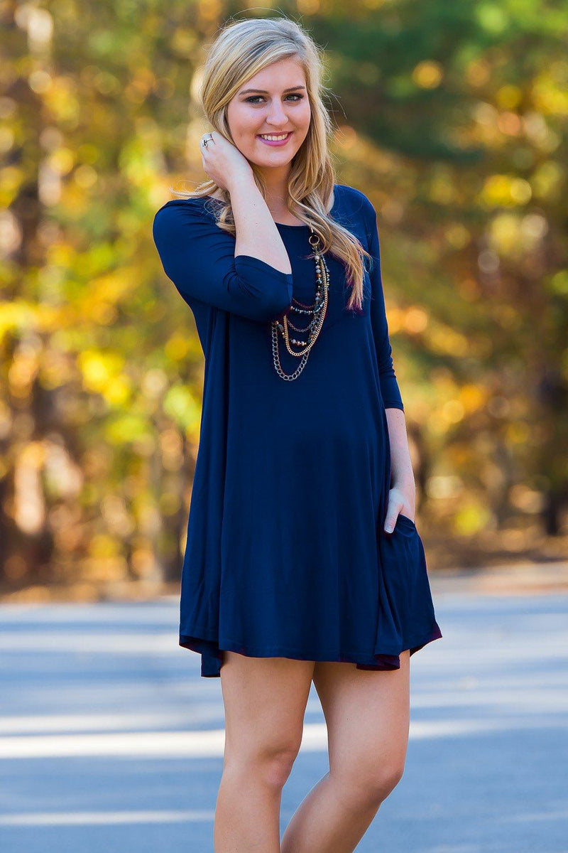 Piko 3/4 Sleeve Swing Dress - Navy