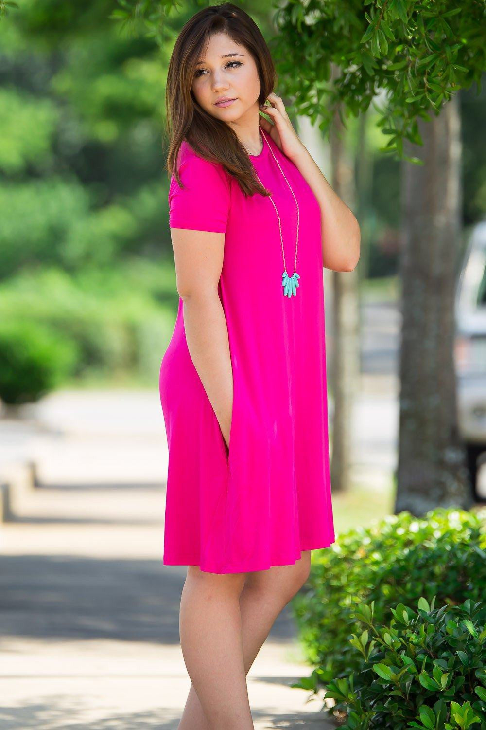 Piko Short Sleeve Swing Dress - Fuchsia - Piko Clothing