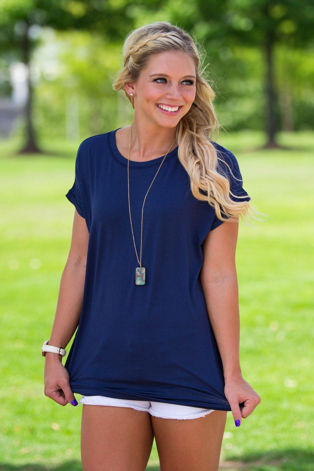Short Sleeve Rolled Sleeve Piko Top - Navy - Piko Clothing