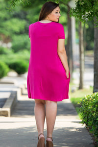 Piko Short Sleeve Swing Dress - Fuchsia - Piko Clothing - 3