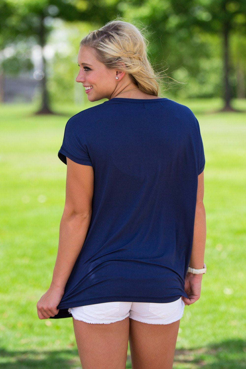 Short Sleeve Rolled Sleeve Piko Top - Navy - Piko Clothing - 2