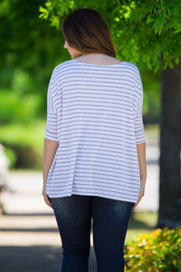 3/4 Sleeve Tiny Striped Piko Top - White/Grey - Piko Clothing