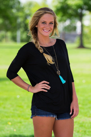 3/4 Sleeve Piko Top - Black - Piko Clothing
