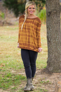 Long Sleeve Piko Top - Tie Dye Mustard - Piko Clothing