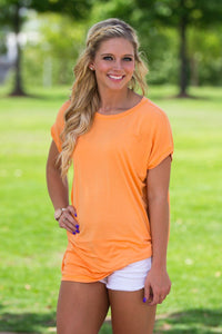 Short Sleeve Rolled Sleeve Piko Top - Tangerine - Piko Clothing
