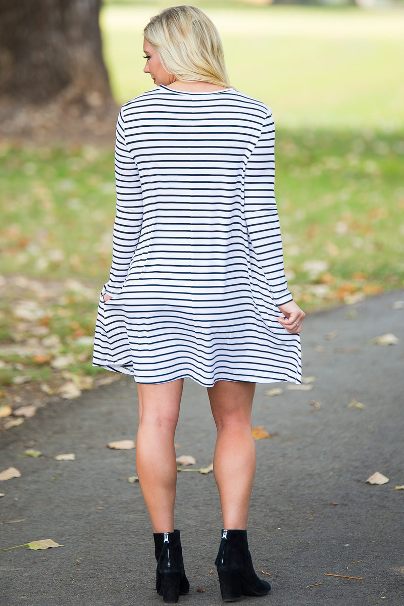 Piko Long Sleeve Tiny Stripe Swing Dress - White/Black - Piko Clothing