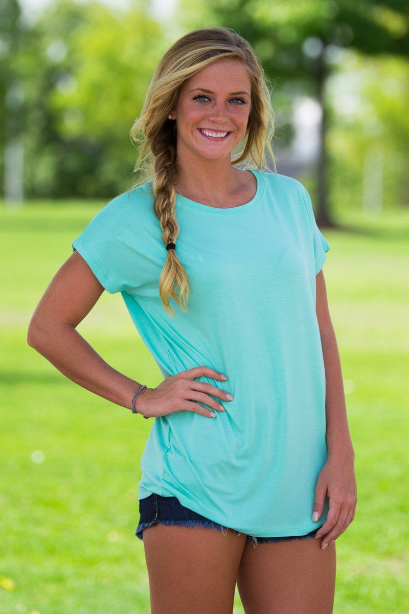 Short Sleeve Rolled Sleeve Piko Top - Lucite Green - Piko Clothing