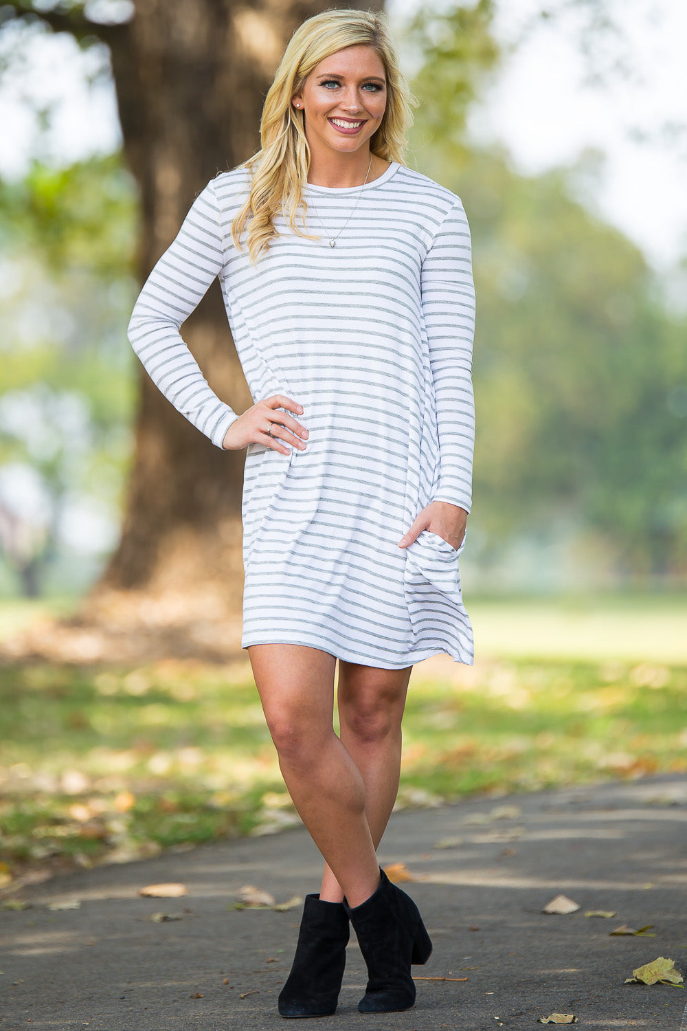 Piko Long Sleeve Tiny Stripe Swing Dress - White/Heather - Piko Clothing