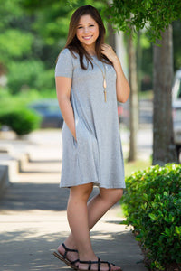 Piko Short Sleeve Swing Dress - Heather Grey - Piko Clothing - 1