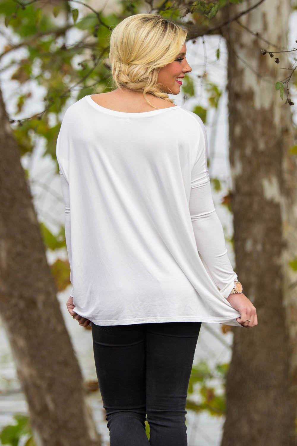 Long Sleeve V-Neck Piko Top - Off White - Piko Clothing