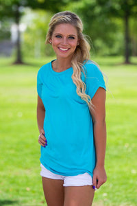 Short Sleeve Rolled Sleeve Piko Top - Scuba Blue - Piko Clothing - 1