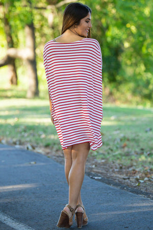 Half Sleeve Piko Tunic - White/Red - Piko Clothing