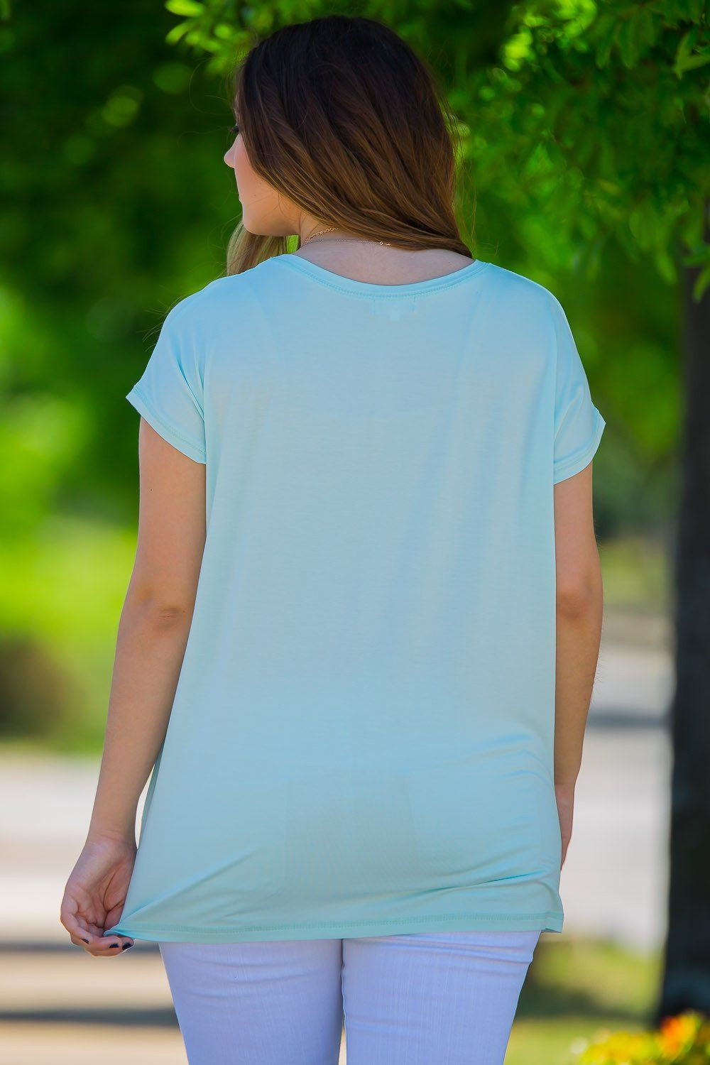 Short Sleeve Rolled Sleeve Piko Top - Mint - Piko Clothing - 2