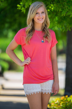 Short Sleeve Rolled Sleeve Piko Top - Coral - Piko Clothing - 1