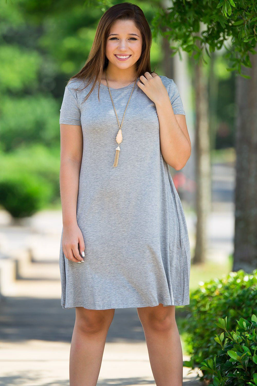 Piko Short Sleeve Swing Dress - Heather Grey - Piko Clothing