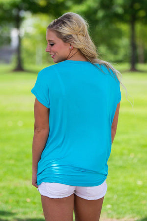 Short Sleeve Rolled Sleeve Piko Top - Scuba Blue - Piko Clothing - 2