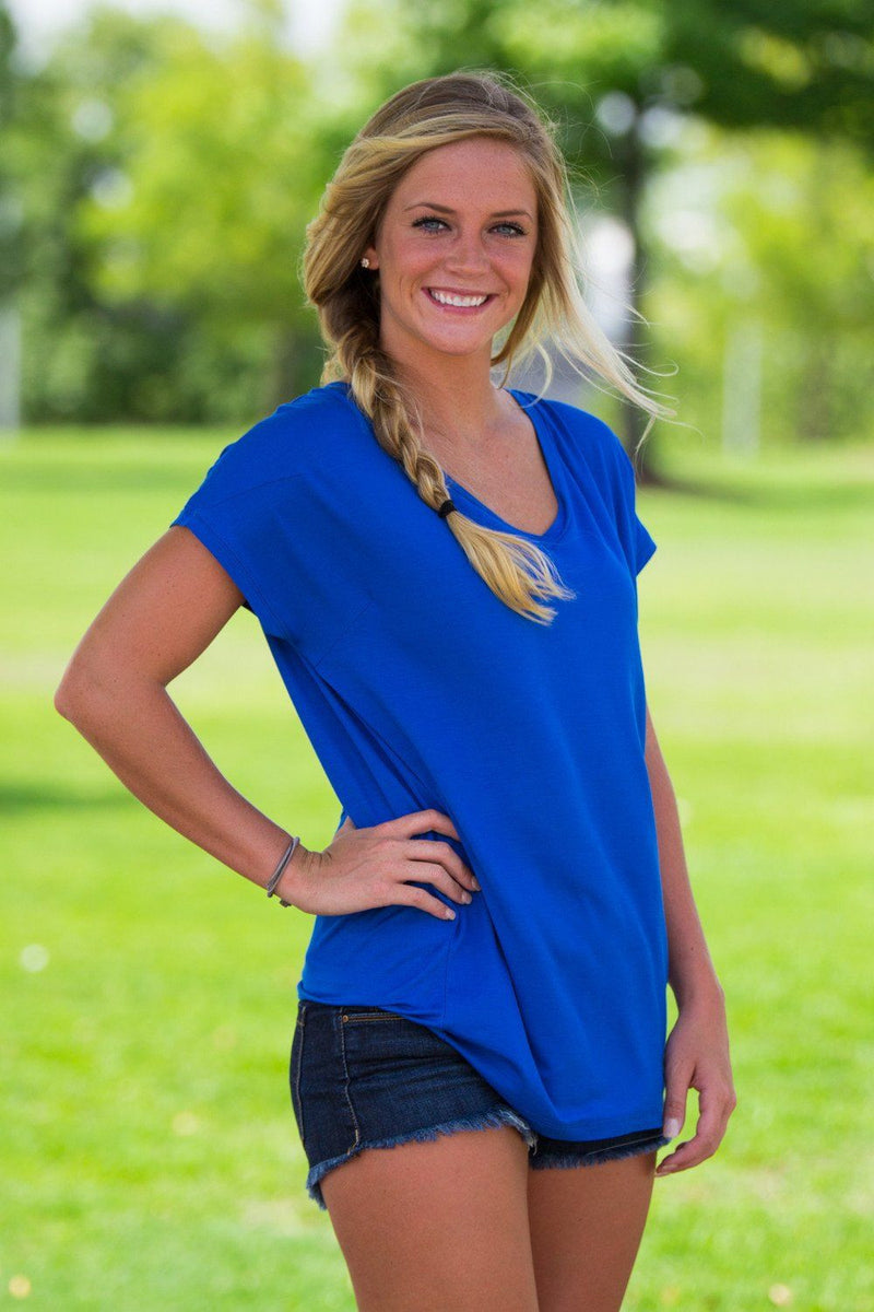 Short Sleeve Rolled Sleeve V-Neck Piko Top - Classic Blue - Piko Clothing - 1