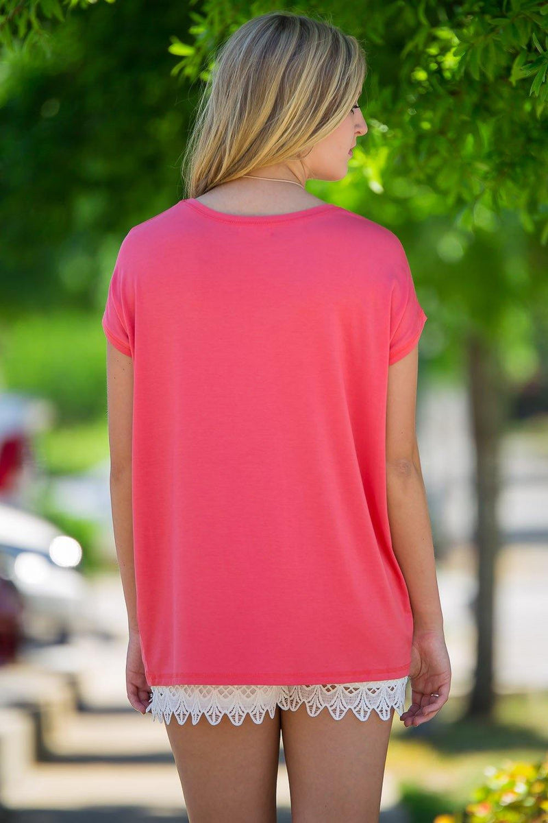 Short Sleeve Rolled Sleeve Piko Top - Coral - Piko Clothing - 2