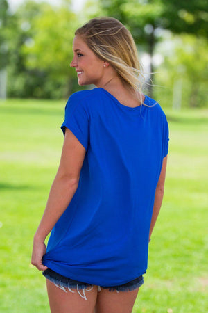 Short Sleeve Rolled Sleeve V-Neck Piko Top - Classic Blue - Piko Clothing - 2