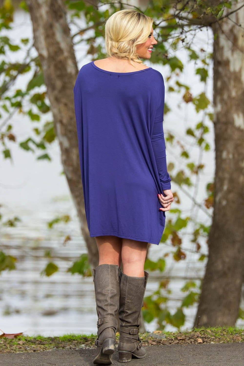 Long Sleeve V-Neck Piko Tunic - Blue - Piko Clothing
