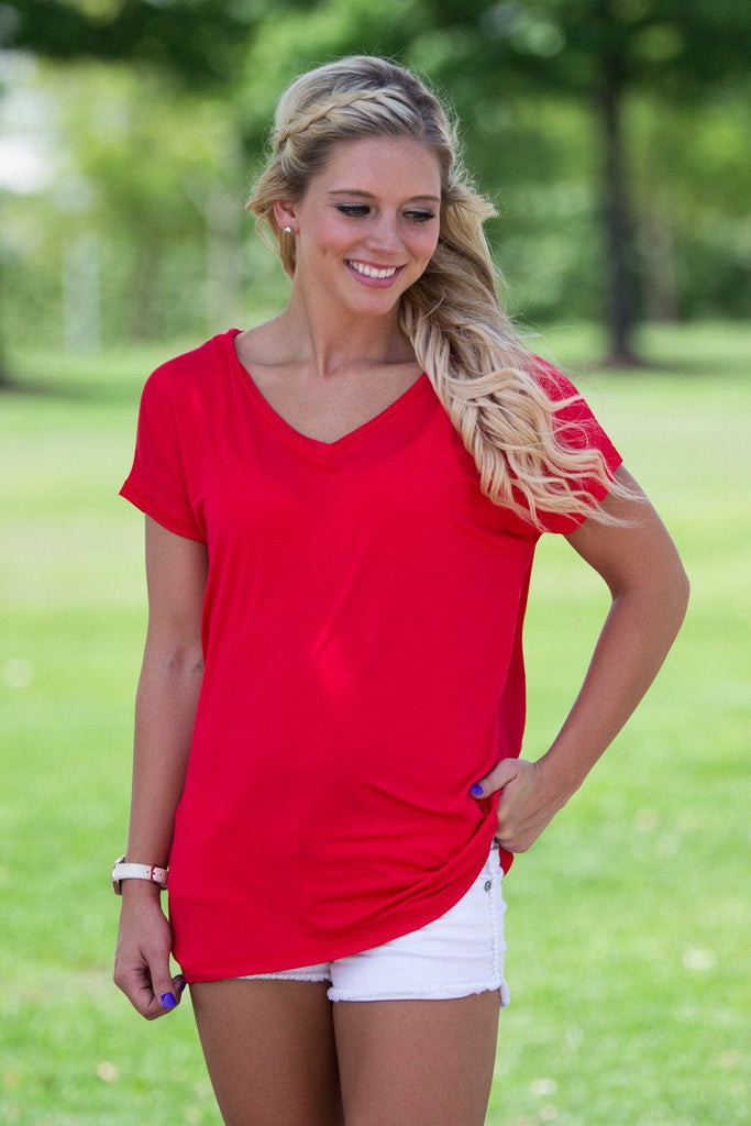 Short Sleeve Rolled Sleeve V-Neck Piko Top - Red - Piko Clothing - 1
