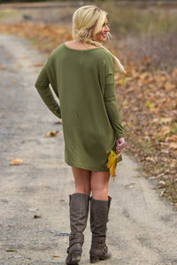 Long Sleeve V-Neck Piko Tunic - Dark Olive - Piko Clothing