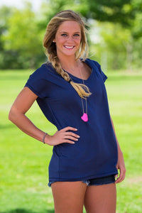 Short Sleeve Rolled Sleeve V-Neck Piko Top - Navy - Piko Clothing - 1
