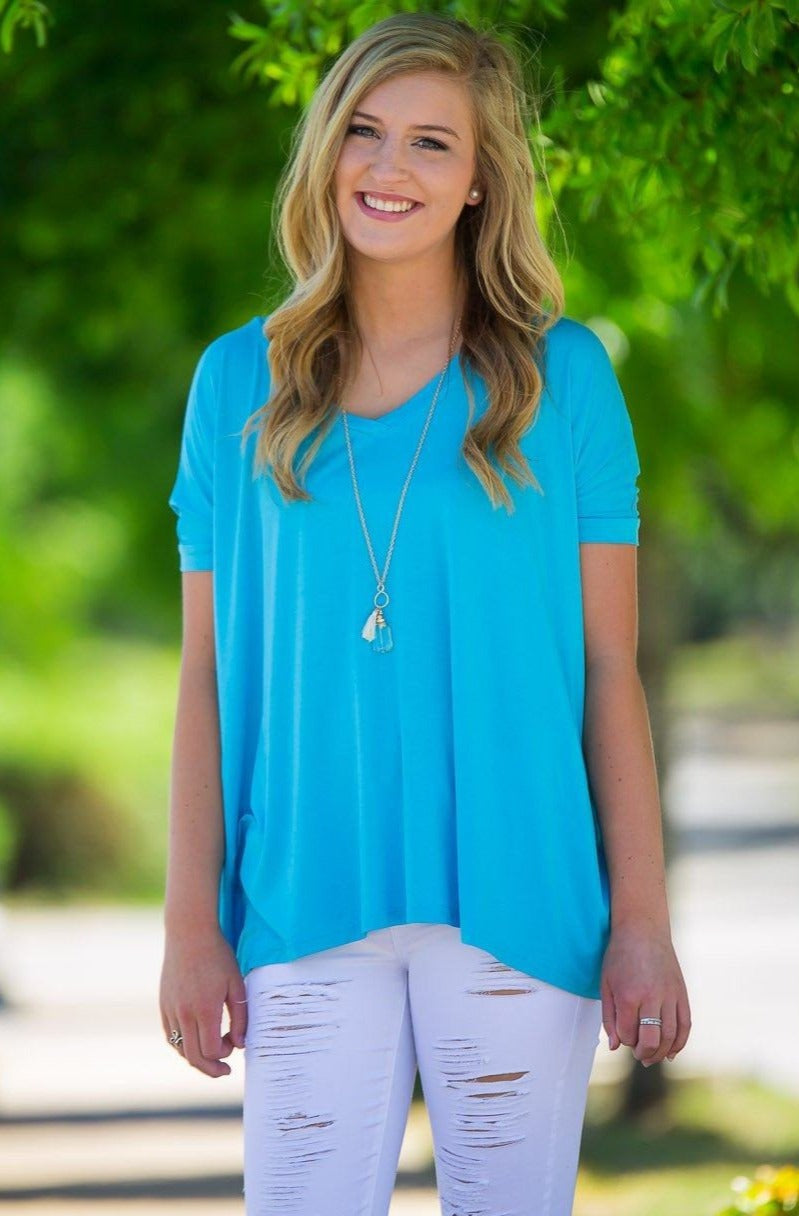 Short Sleeve V-Neck Piko Top - Sky Blue - Piko Clothing - 1