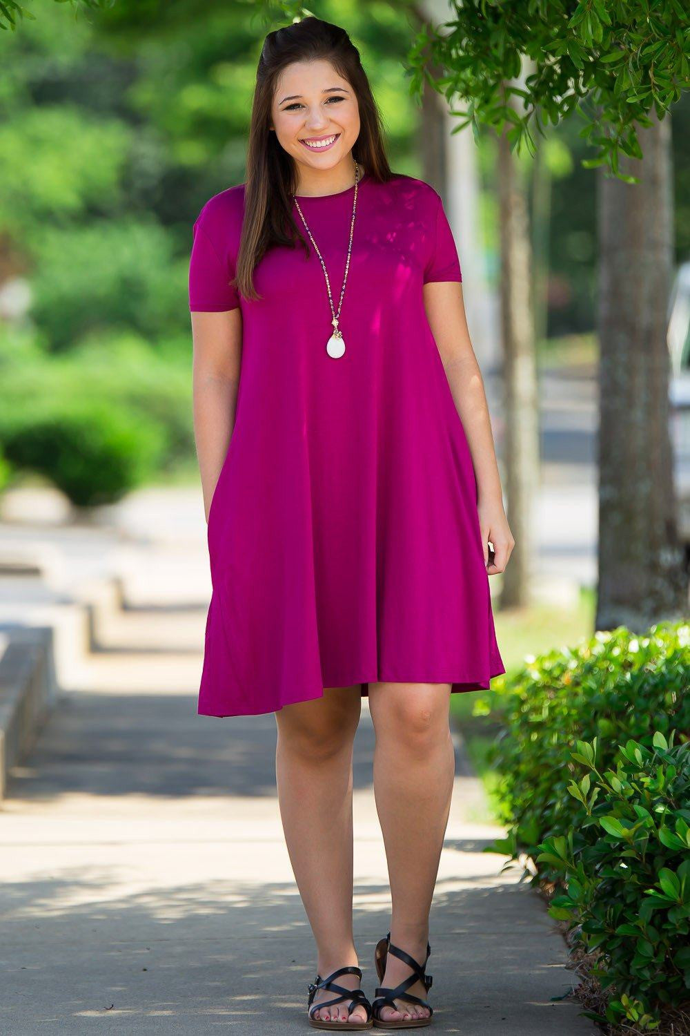 Piko Short Sleeve Swing Dress - Bright Fuchsia - Piko Clothing - 1