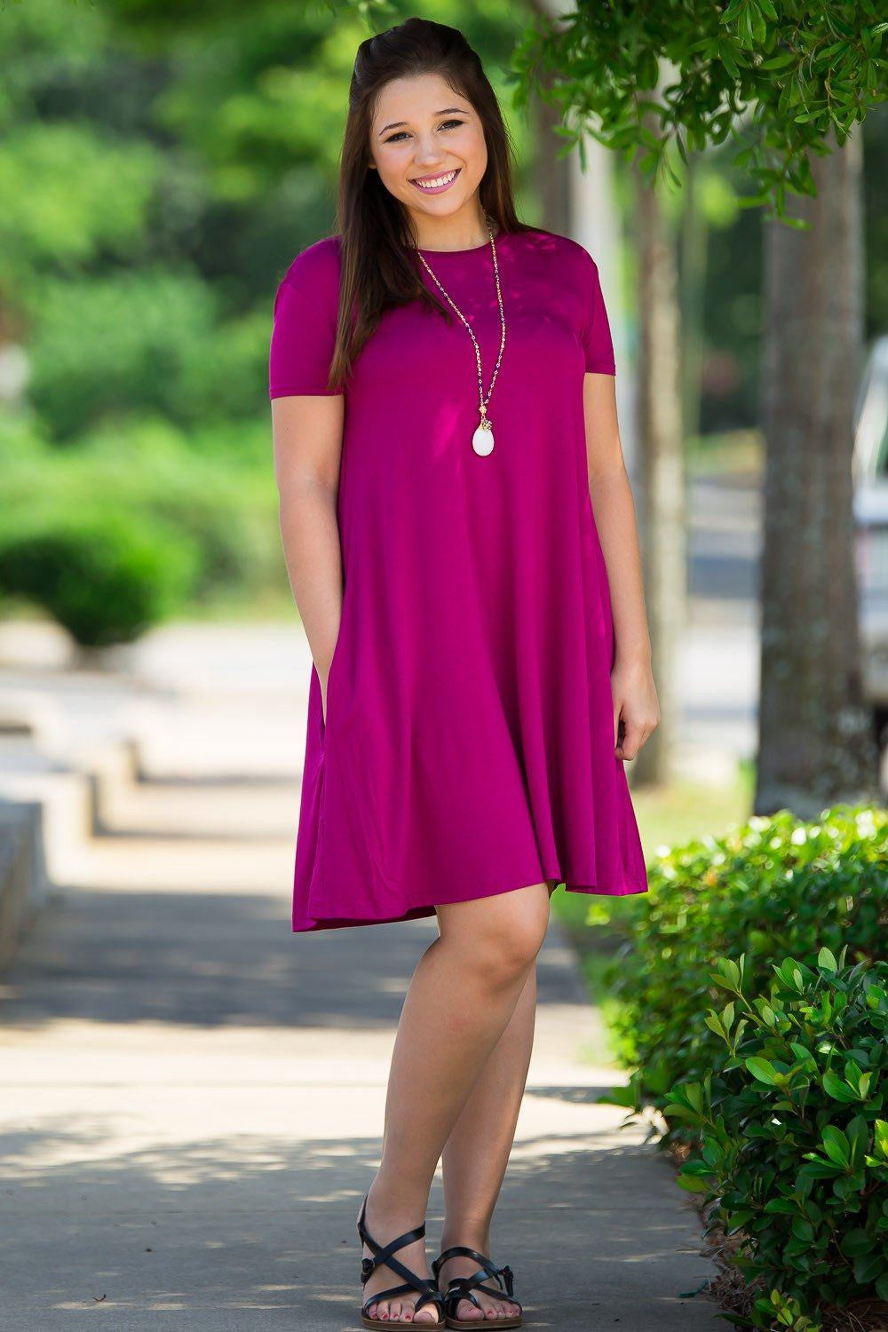 Piko Short Sleeve Swing Dress - Bright Fuchsia - Piko Clothing - 2