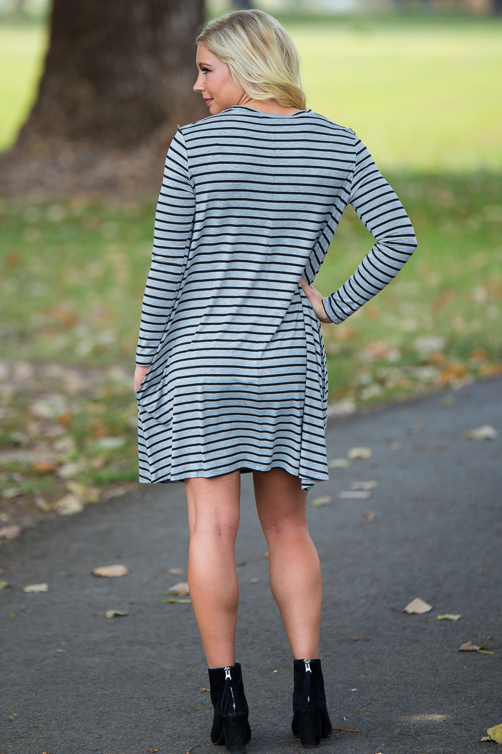 Piko Long Sleeve Tiny Stripe Swing Dress - Heather/Black