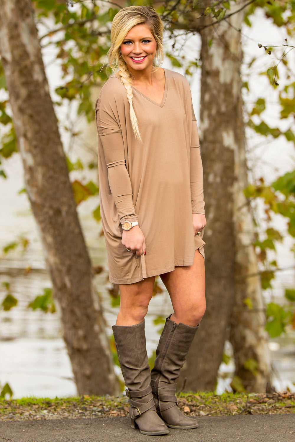 Long Sleeve V-Neck Piko Tunic - Mocha