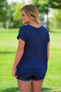 Short Sleeve Rolled Sleeve V-Neck Piko Top - Navy - Piko Clothing