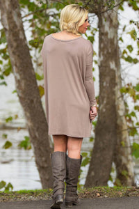 Long Sleeve V-Neck Piko Tunic - Khaki - Piko Clothing
