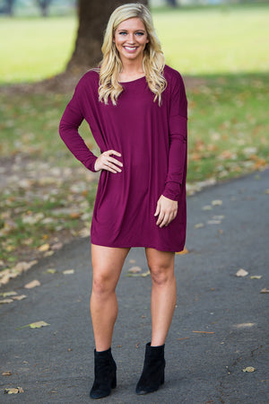 Long Sleeve Piko Tunic - Dark Maroon - Piko Clothing