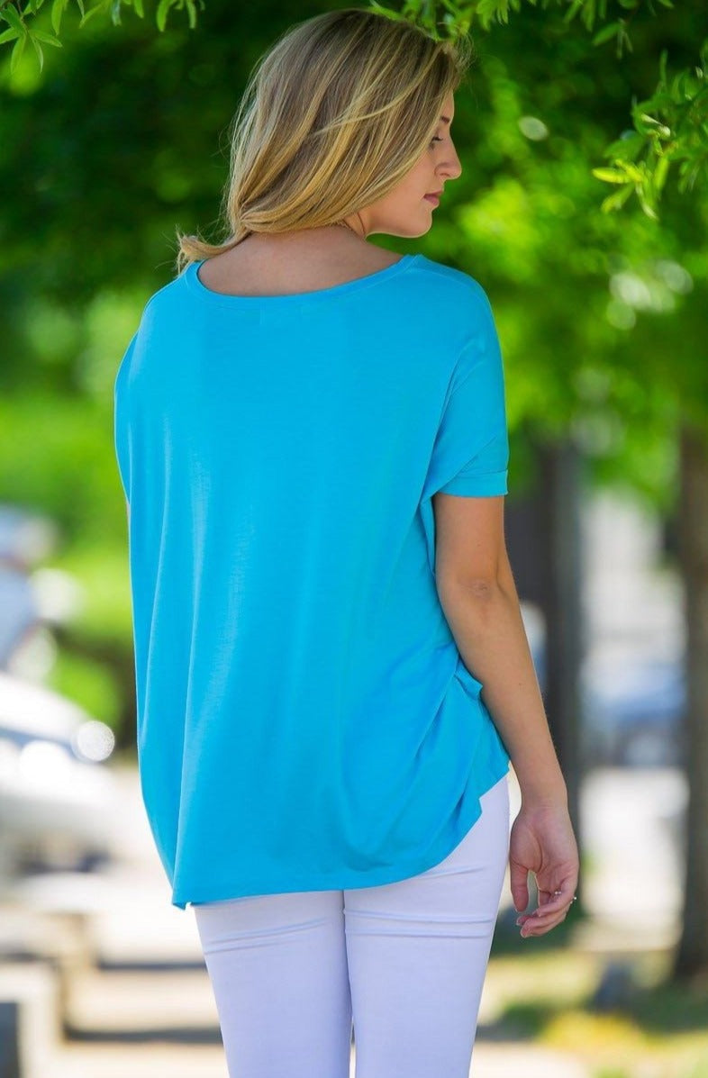 Short Sleeve V-Neck Piko Top - Sky Blue - Piko Clothing - 2