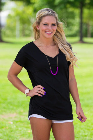 Short Sleeve Rolled Sleeve V-Neck Piko Top - Black - Piko Clothing - 1