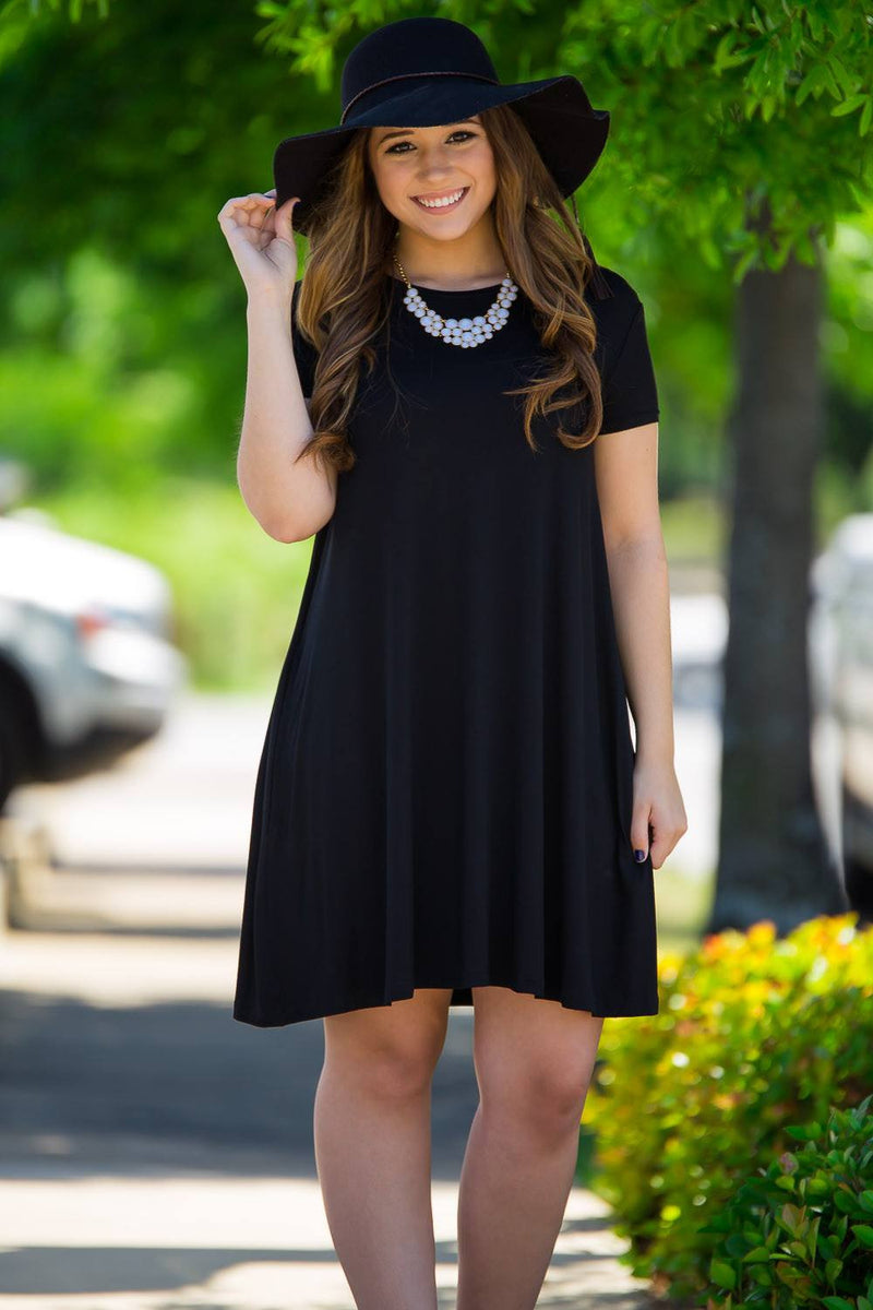 Piko Short Sleeve Swing Dress - Black - Piko Clothing