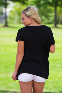 Short Sleeve Rolled Sleeve V-Neck Piko Top - Black - Piko Clothing