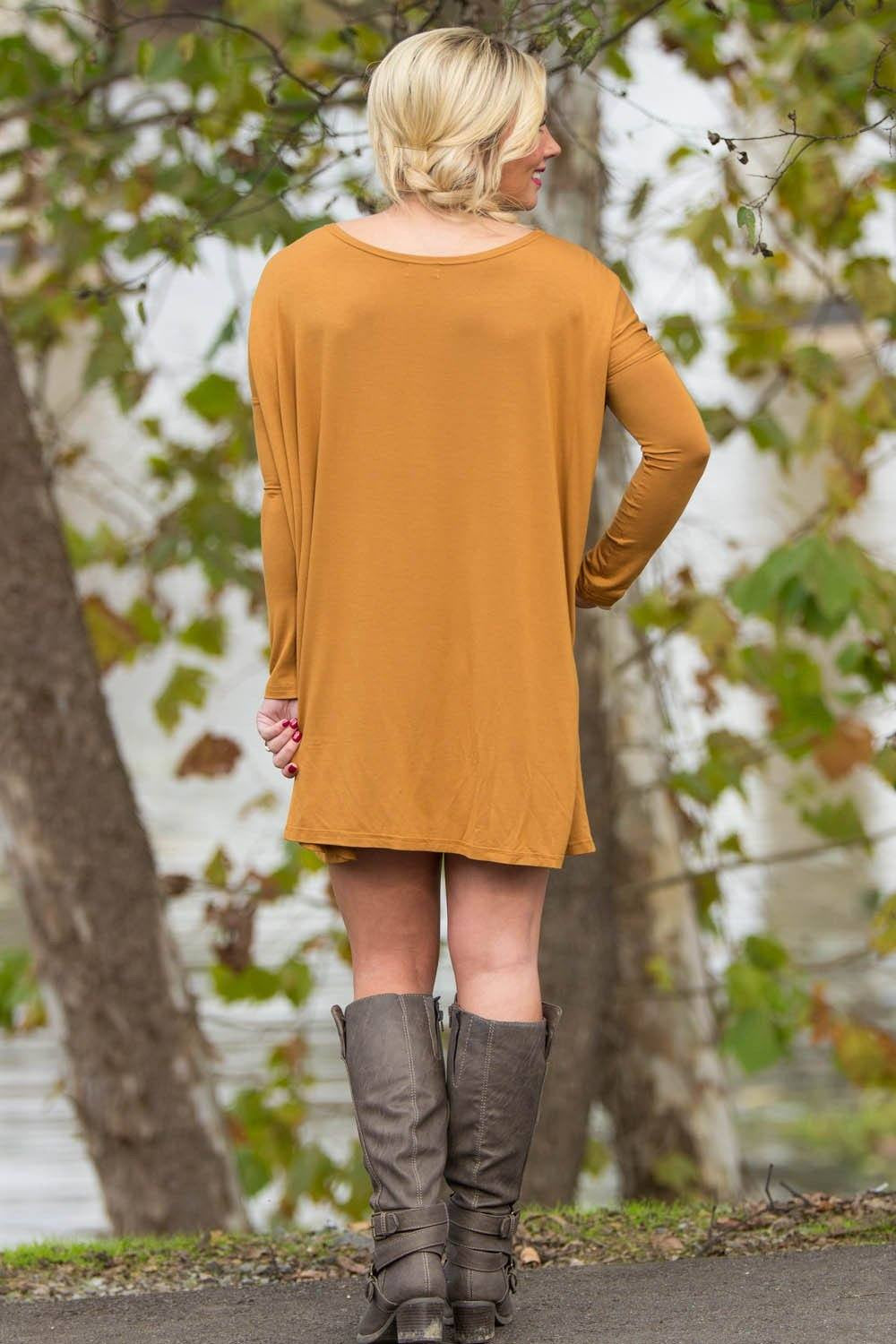 Long Sleeve Piko Tunic - Dark Mustard - Piko Clothing
