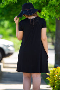 Piko Short Sleeve Swing Dress-Black - Piko Clothing - 3