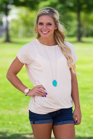 Short Sleeve Rolled Sleeve Piko Top - Toasted Almond - Piko Clothing - 1