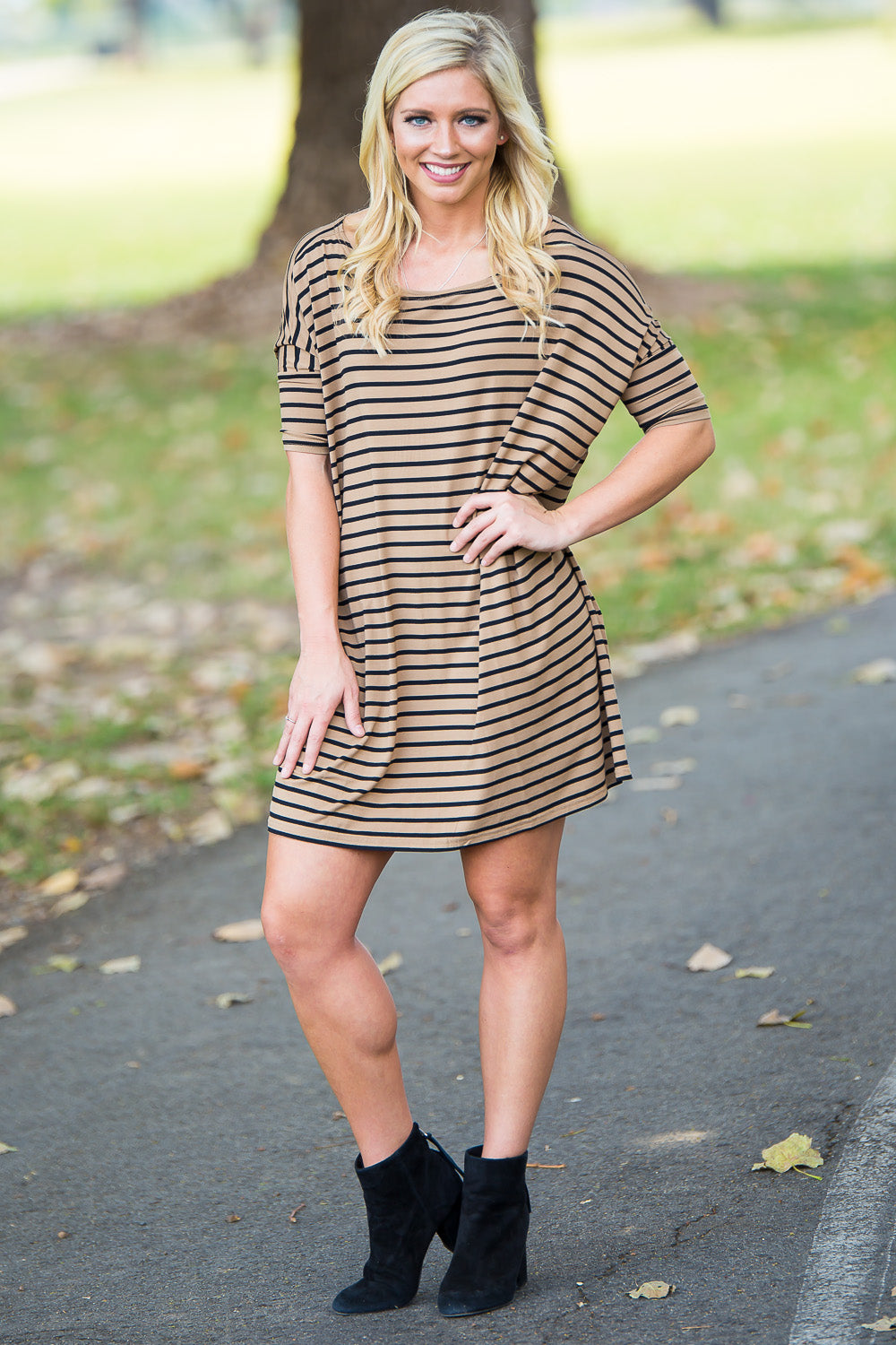 Half Sleeve Piko Tunic - Camel/Black - Piko Clothing