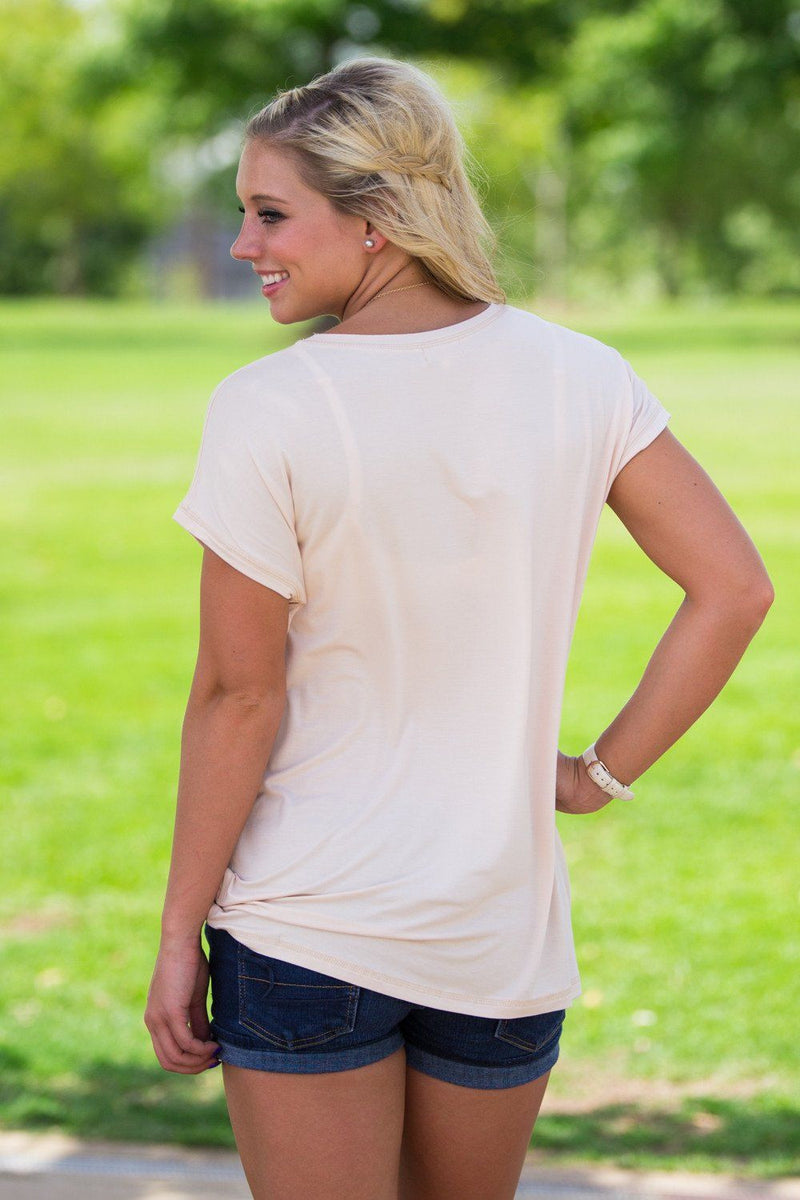 Short Sleeve Rolled Sleeve Piko Top - Toasted Almond - Piko Clothing