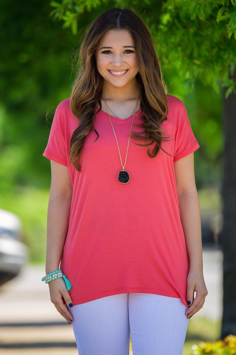 Short Sleeve Rolled Sleeve V-Neck Piko Top - Coral - Piko Clothing - 1