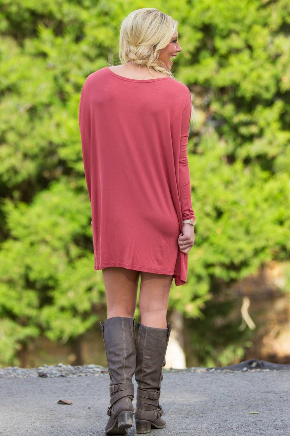 Long Sleeve Piko Tunic - Marsala - Piko Clothing